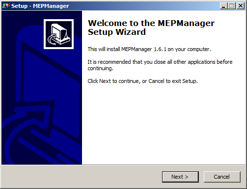 Screenshot MEPManager installer